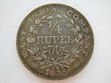 East India Company 1835 1/4 Rupee VF KM#448.4 incuse F
