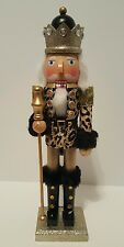 "Animal Print Soldier Nutcracker Brown Gold Wood 15"" Christmas Holiday Decor NEW"
