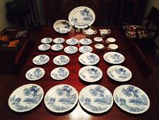 "SWINNERTONS STAFFORDSHIRE ""THE FERRY"" pattern / Four 6-pc Place Settings + More!"