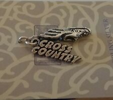 Sterling Silver 23x15mm 3D Cross Country & Shoe with Wings Charm