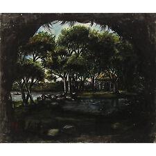 Picturesque Victorian Taplow Spring Cliveden Antique Landscape Watercolour c1850