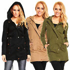 HS-307 DAMEN PARKA JACKE BLOGGER MANTEL COAT KAPUZE QUILTED LONG S M L XL