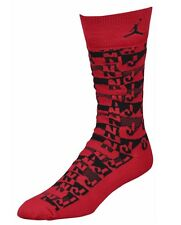 Nike Jordan Air Sneaker + Print Sock Socks Red Black Mens Size 6-8 One Pair NEW!