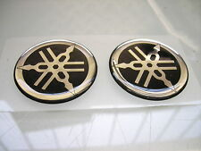 2 YAMAHA TANK EMBLEM BADGE STICKER AUFKLEBER CHROM 36MM XJ 650 550 XS 750 SR 500