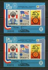 Uruguay 1975 #MB28 football UPU olympics flags PERF & IMPERF sheets  MNH  J227