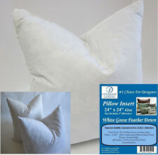 "2 - 24"" x 24"" Pillow Insert: 62oz. White Goose Down - 2"" Oversized & Firm Filled"