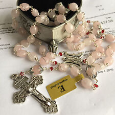 Sterling Silver Wire 10mm Pink Quartz Beads 5 DECADE Rosary CROSS Necklace Box