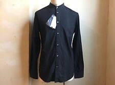 MAISON MARTIN MARGIELA BLACK DOTS TEXTURED MANDARIN COLLAR CASUAL DRESS SHIRT 52