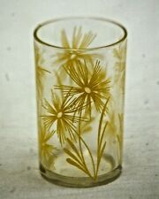 Old Vintage Yellow Abstract Flowers Water Juice Glass Tumbler Kitchen Tool