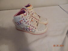 Women's COACH Size 7.5 Tennis Casual Shoes Hi Tops Norra Colorful WHiteA1427