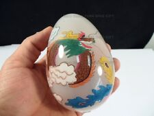 Chinese Oriental Dragon Phoenix Glass Inside Hand Painted Egg with Wood Stand