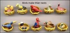 AMAZING MINIATURE PORCELAIN,BIRD MAKES HIS NEST,FLAMINGO,DUCK,TOUCAN,PARROT