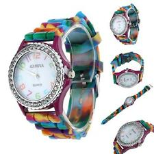 Geneva Fashion Women Silicone Watch Crystal Bling Analog Quartz Wrist Watch