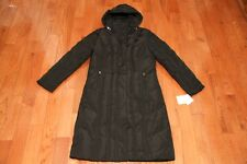 NWT Calvin Klein Womens Hooded Long Quilted Down Puffer Coat Jacket Black S