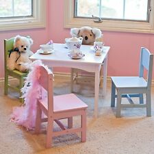 Kids Table Chair Set 5 Piece Furniture Children Play Room Wood Pink White Girls