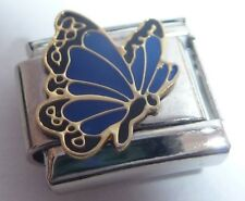 Dark Blue BUTTERFLY 9mm Italian Charm - fits Classic Starter Bracelets SEPTEMBER