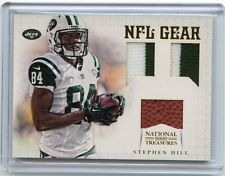 2012 NATIONAL TREASURES #17 STEPHEN HILL DUAL PATCH/BALL RC #2/25, NEW YORK JETS
