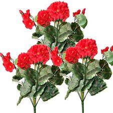 3 artificial 36cm Geranio arbustos Con Flores Rojas-Decorativos Plantas De Plástico