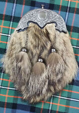 Full Dress Kilt Sporran Fox Fur Shamrock Cantle Antique/Scottish Kilt Sporrans