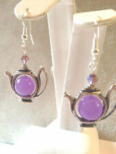 10MM LAVENDER JADE-CRYSTAL ACCENT TEA POT EARRINGS-925 STERLING SILVER EAR WIRES