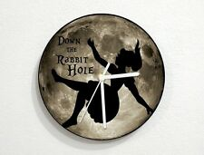 Alice in Wonderland - Down the Rabbit Hole - Gray Moon - Wall Clock