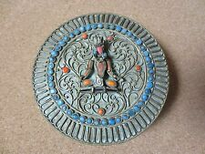 Vintage Tibet Nepal Buddah Trinket Jewelry Round Box Turquoise Coral (PG950)