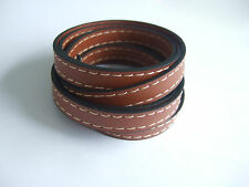 1 Meter High Quality 10mm Flat Light Brown Faux Leather Stitched Leather Cord