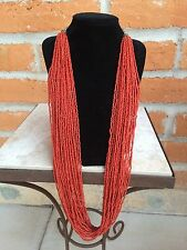 "Natural Red Coral Seed Bead Necklace 28 Strands 33"" long Silver clasp 16.5"" drop"
