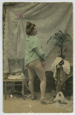 c 1910 Sexy French Rear Pose NUDE LADY Boudoir Scene roto photo postcard