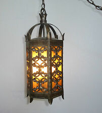 """SPANISH Style Iron HANGING CEILING LIGHT 27"""" Tall Chandelier Chain 80"""" Long"""