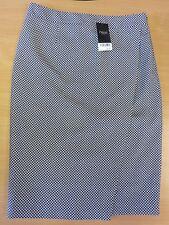 BNWT Next Faux Wrap Front Skirt Woven Geometric Pattern Size 12r Navy White