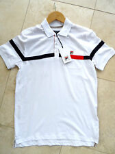 Fila Varelli Mens Casual Designer Vintage Polo Shirt in White Navy sz small
