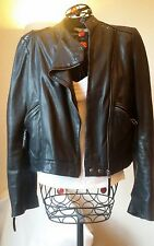 French Designer ba&sh Ladies Real Leather Black Biker Jacket, Soft Supple,  - 12
