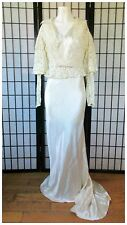 Vintage 1930s Wedding Gown 30s Bride Silk Dress Lace Jacket 34 Old Hollywood