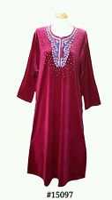 15097 Ladies' knitted  Velvet multi  colour embroidery floral long kaftan (XXL )