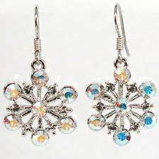 RUCINNI Snowflake Earrings, Rhodium plated and Swarovski crystals