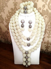 WHITE SILVER 3 strati africana Perline Matrimonio Festa Nuziale Set Gioielli Collana