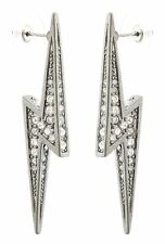 Zest Swarovski Crystal Lightening Bolt Earrings for Pierced Ears Clear & Silver