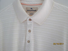 NWOT Mens Tommy Bahama Solid Cream Ribbed Polo  Shirt XL