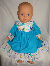 "Handmade Blue Yellow Blue  Dress Frill. Fit Baby Annabell Baby Born 16""/18"" Doll"