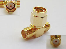 SMA Male Plug to Double Dual 2 SMA Female Jack Triple T Adapter Connector