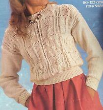 """L9 - Knitting Pattern - Warm Aran Style Jumper - 34-40"""" chest"""