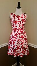 Modcloth Dress L Gilli White Red Floral Pleated Neoprene A-Line Chic Seminar $69