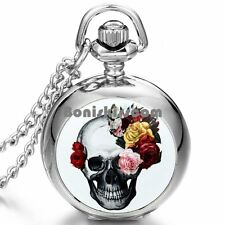 Skull Print Color Rose Flower Quartz Arabic NumeralsPocket Watch Necklace
