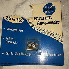 New Old Stock 25 Hi-Fi Stereo Phono Needles (25) Unopened Package