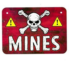 Metal Sign MINES land mine field military war danger warning army explosives US