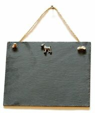 Fox terrier  Hanging Slate Chalk Notice Board  Messages, Lists , hunting  Gift