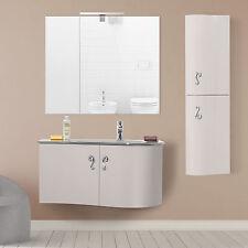 Mobile bagno sospeso 90 design moderno completo di colonna e specchiera d'arredo