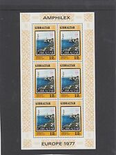 Gibraltar 1977 Europe AMPHILEX 12p 25p sheetlets of 6 stamps unmounted mint