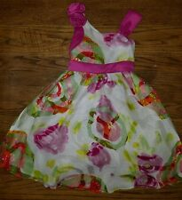 Size 6 - Darling Girls Dress Rosettes Swirls Pink Rare Editions